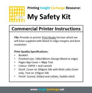 Print Work Specification - My Safety Kit